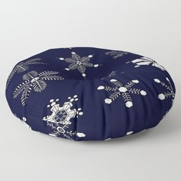 Snowflakes- a chapter from the book of nature - Israel Perkins Warren Christmas Pattern Floor Pillow