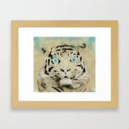 White Tiger Baby Pop Art Framed Art Print