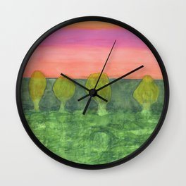 Trees, Green and Evening Sky Wall Clock