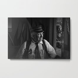 Old Train Conductor at the Fort Edmonton Park Train Railway Metal Print