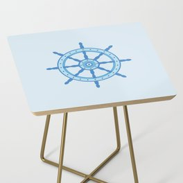 AFE Ship Wheel Light Blue, Nautical Art Print Side Table