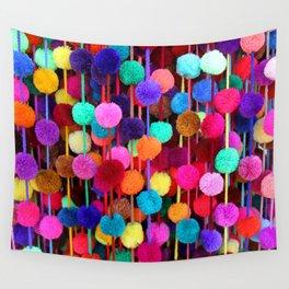Rainbow Pom-poms (Horizontal) Wall Tapestry