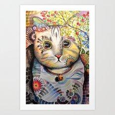 Smokey ... abstract cat art Art Print