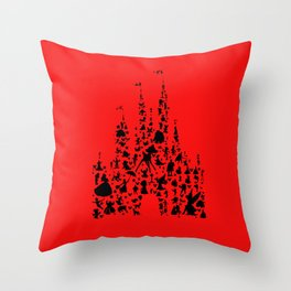 red castle with characters Throw Pillow