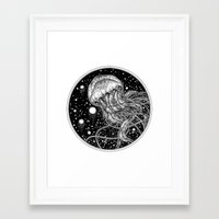 jellyfish Framed Art Prints featuring Jellyfish by Corinne Elyse