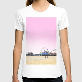 Santa Monica Pier with Ferries Wheel and Roller Coaster Against a Pink Sky T-shirt