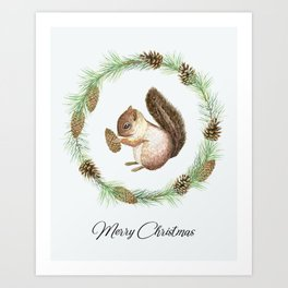 Christmas wreath and squirrel Art Print