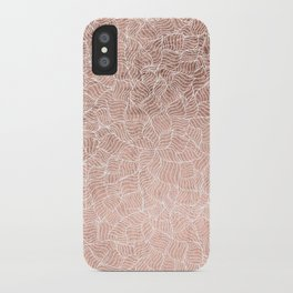 Modern faux rose gold stripes geometric pattern illustration iPhone Case