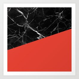 Black Marble with Cherry Tomato Color Art Print