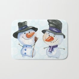 Two Snowmen Characters on Snowflake Background Bath Mat