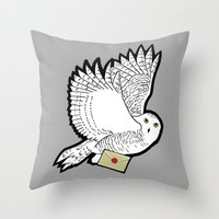 hedwig Throw Pillows featuring Hedwig by AriesNamarie