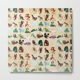 Mythical Creatures Pattern Metal Print