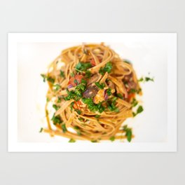 Italian Pasta with onion, tuna, and taggiasche olives Art Print