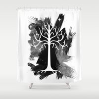 gondor Shower Curtains featuring White Tree Of Gondor by Icarusdie