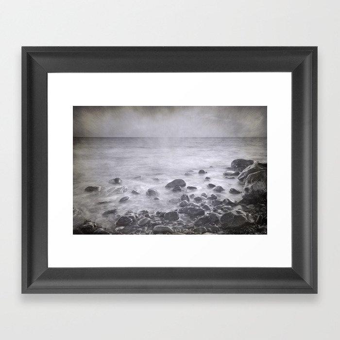 """Black sea rocks"" Framed Art Print"