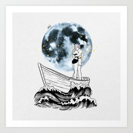 Night above the moon. Art Print