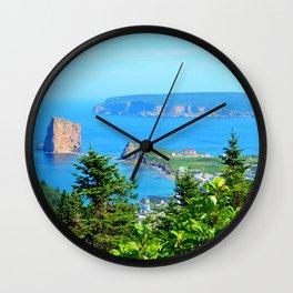 Perce From Dawn's Peak panoramic cut Wall Clock
