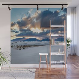 One More Moment - Sunbeams Burst From Clouds Over White Sands New Mexico Wall Mural