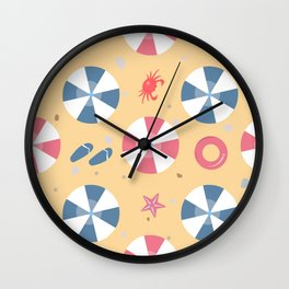 Summer Seamless Pattern. Beach with umbrellas and other summer elements Wall Clock