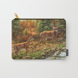 Whitetil Deer Doe & Buck by Waterfall Carry-All Pouch