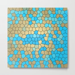 Turquoise and Gold Mosaic Metal Print
