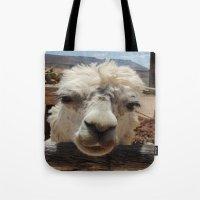 lama Tote Bags featuring Lama  by Ricarda Balistreri