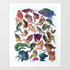 Reverse Mermaids Art Print