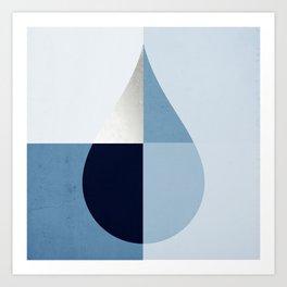 Geometric raindrop - chambray blues Art Print