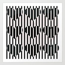 Black and White Stripe Hearts Design Art Print