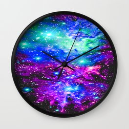 Fox Fur Nebula Galaxy Pink Purple Blue Wall Clock