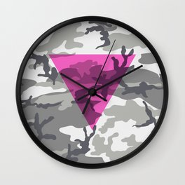 Pink Triangle on Urban Camouflage Wall Clock