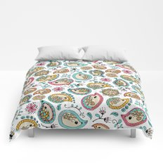 Hedgehog Paisley_Colors and White Comforters