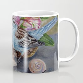 Floral still life with sparrow, bumble bee, butterfly, and sea shells Coffee Mug