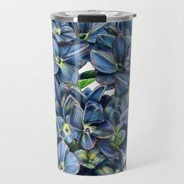 Realistic Hydrangea Drawing Travel Mug