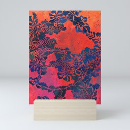 Japanese Stencil Pattern #1 | Floral Watercolor Design in Scarlet Red & Blue Mini Art Print