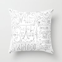 calligraphy Throw Pillows featuring Julie's Calligraphy by Julie's Fabrics & Thingummies