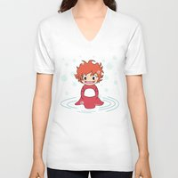ponyo V-neck T-shirts featuring Kokeshi Ponyo by Pendientera