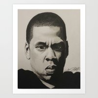 jay z Art Prints featuring Jay Z by Leonidas The King