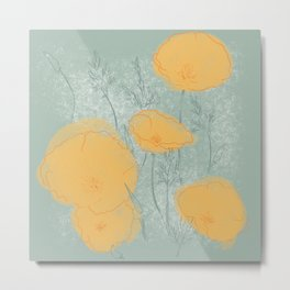 California Poppies in Gray Metal Print