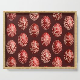 Realistic easter red dyed eggs pysanka Serving Tray