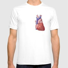 Vector Heart White MEDIUM Mens Fitted Tee