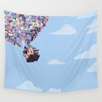 pixar Wall Tapestries featuring disney pixar up.. balloons and sky with house by studiomarshallarts