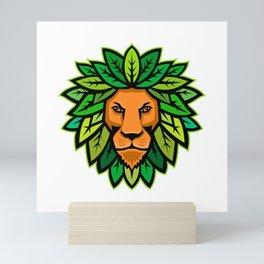 Lion With Leaves As Mane Mascot Mini Art Print
