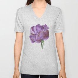 Purple Rose Watercolor Unisex V-Neck