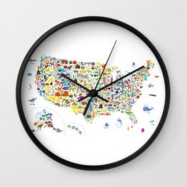 Animal Map of United States for children and kids Wall Clock