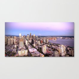 Seattle Skyline Harbor at Sunset Canvas Print