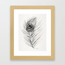 Peacock Feather – Black Palette Framed Art Print