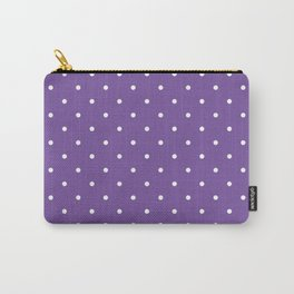 Small White Polka Dots with Purple Background Carry-All Pouch