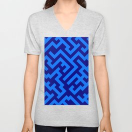 Brandeis Blue and Navy Blue Diagonal Labyrinth Unisex V-Neck
