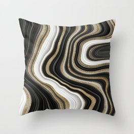 Gold And Black Agate Gemstone Throw Pillow